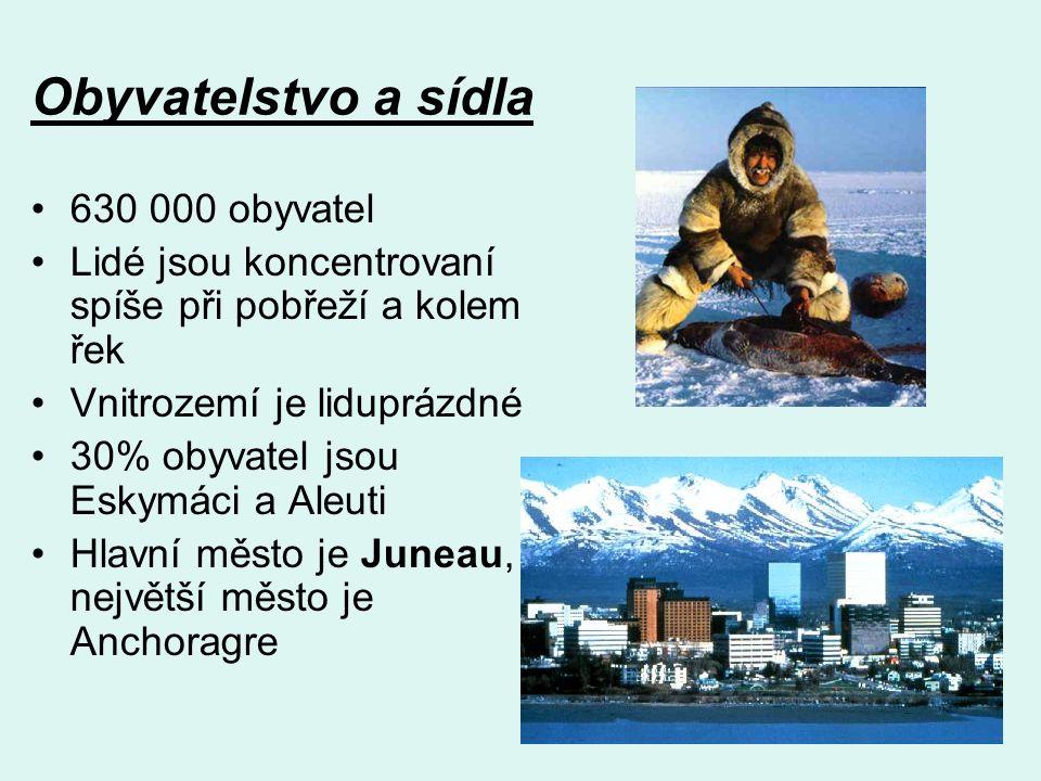 Obyvatelstvo a sídla 630 000 obyvatel Lidé jsou koncentrovaní spíše při pobřeží a kolem řek Vnitrozemí je liduprázdné 30% obyvatel jsou Eskymáci a Aleuti Hlavní město je Juneau, největší město je Anchoragre