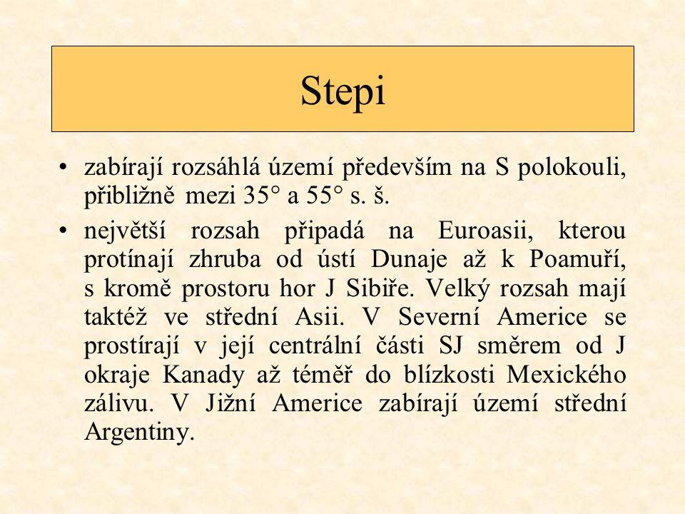 Stepi zabírají rozsáhlá území především na S polokouli, přibližně mezi 35° a 55° s.