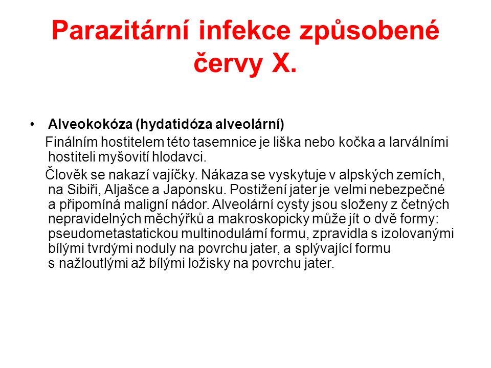 Parazitární infekce způsobené červy X.