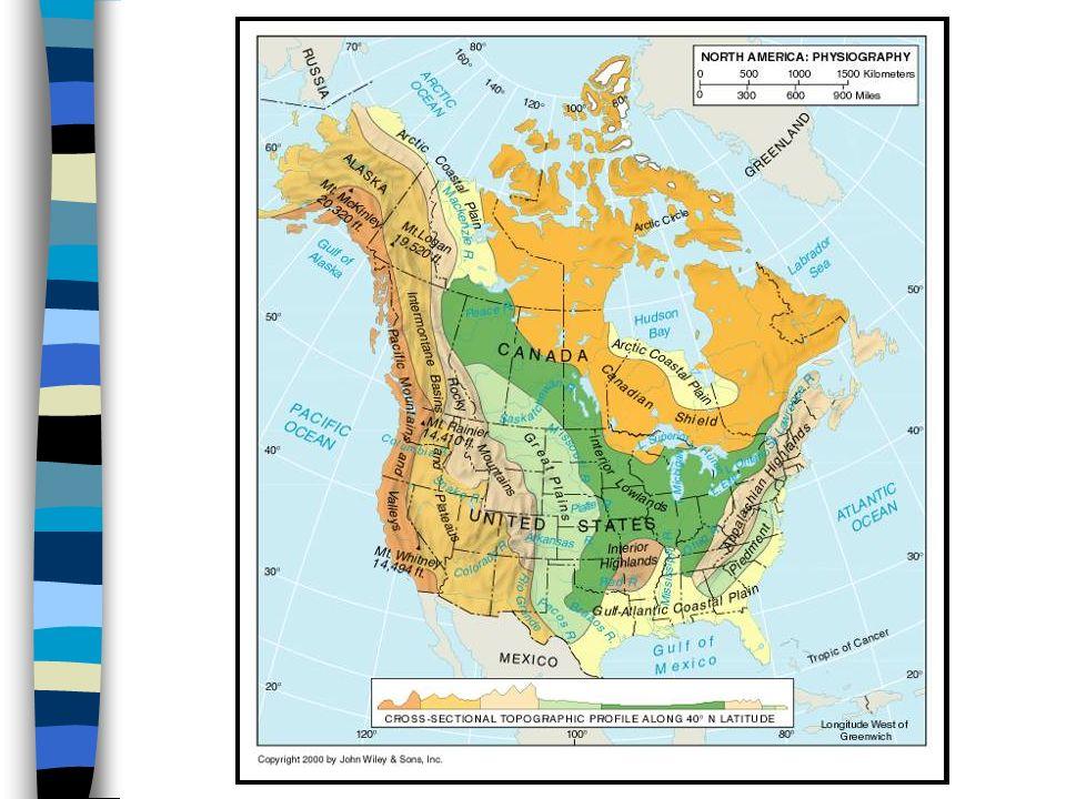 Fyzickogeografické regiony 1. Kanadský štít 2. Arktická nížina 3. Centrální roviny 4. Appalačské pohoří 5. Piedmont 6. Vnitřní vysočiny 7. Velké préri