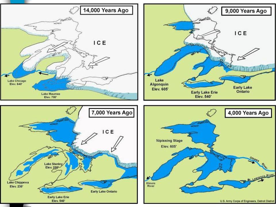 Velká jezera (Great Lakes) Pět jezer, dohromady největší nashromáždění sladké vody na světě vázána na tektonický prolom, současnou podobu dostala po p