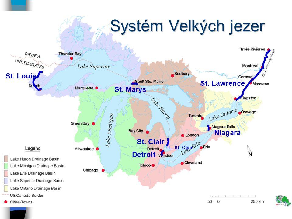 Velká jezera (Great Lakes) jezeroPlocha (km 2 )nadm. výška Hořejší (Superior) 82 414182 Huron59 596176 Michigan57 441176 Erie25 745174 Ontario19 52975