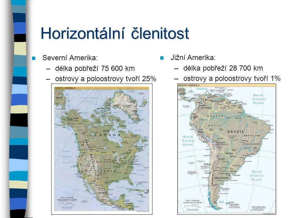 Členění Ameriky Fyzickogeografické členění Severní Amerika –Střední Amerika Jižní Amerika hranicí je nejužší místo Panamské šíje (48 km) Střední Ameri