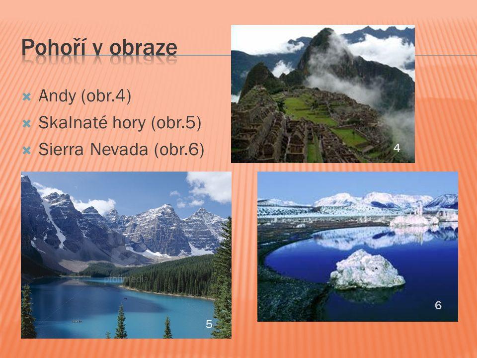  Andy (obr.4)  Skalnaté hory (obr.5)  Sierra Nevada (obr.6) 6 5 4