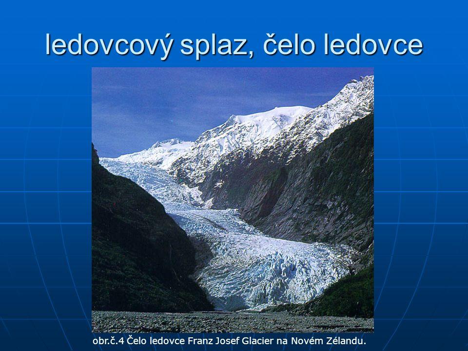 ledovcový splaz, čelo ledovce obr.č.4 Čelo ledovce Franz Josef Glacier na Novém Zélandu.