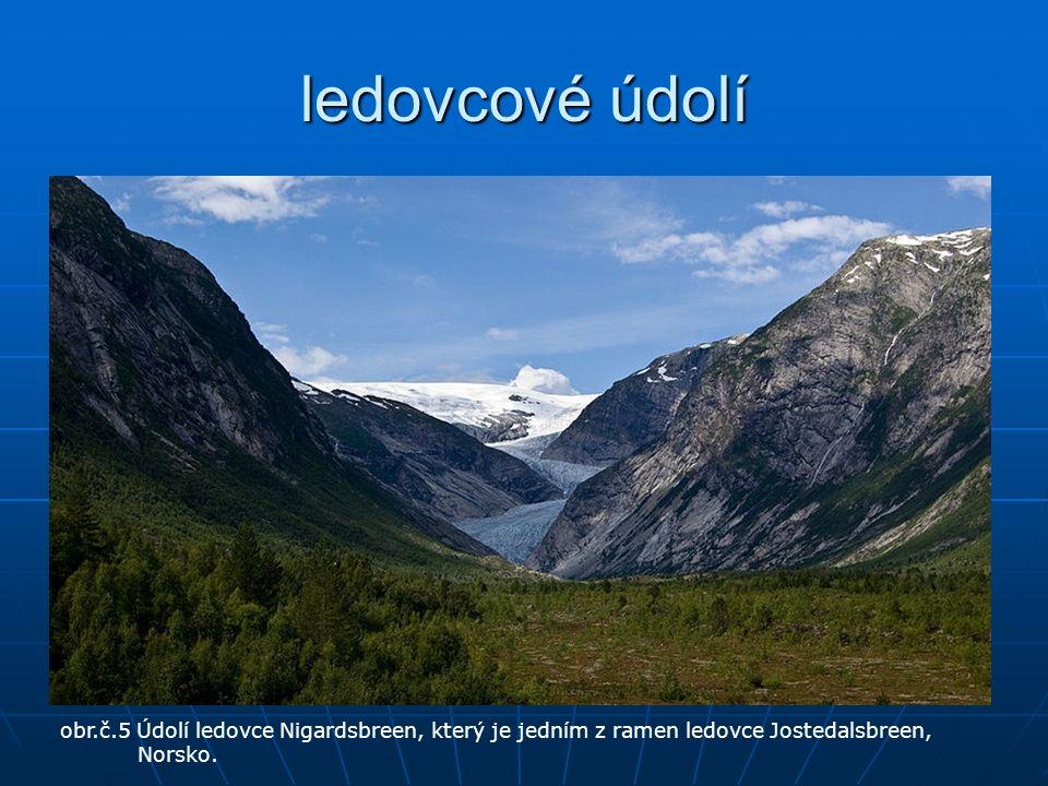 ledovcové údolí obr.č.5 Údolí ledovce Nigardsbreen, který je jedním z ramen ledovce Jostedalsbreen, Norsko.