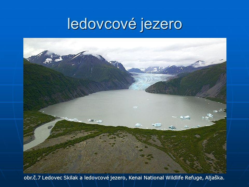 ledovcové jezero obr.č.7 Ledovec Skilak a ledovcové jezero, Kenai National Wildlife Refuge, Aljaška.