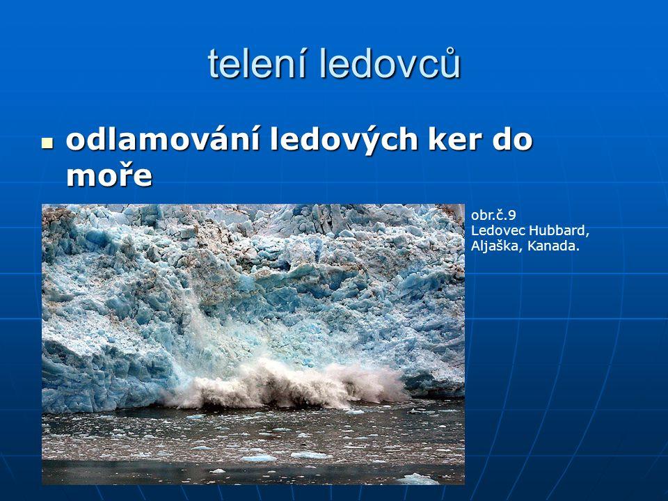 telení ledovců odlamování ledových ker do moře odlamování ledových ker do moře obr.č.9 Ledovec Hubbard, Aljaška, Kanada.
