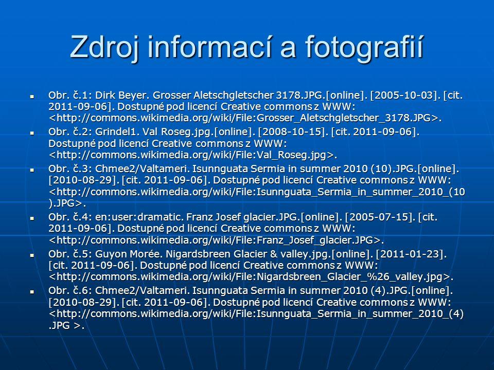Zdroj informací a fotografií Obr. č.1: Dirk Beyer. Grosser Aletschgletscher 3178.JPG.[online]. [2005-10-03]. [cit. 2011-09-06]. Dostupné pod licencí C