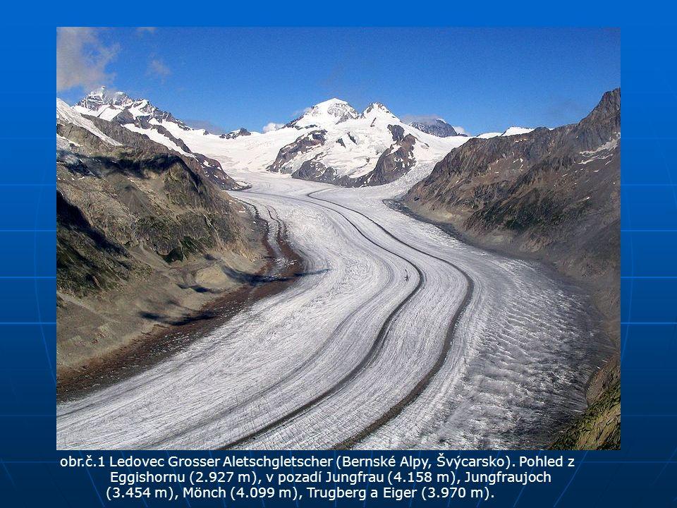 obr.č.1 Ledovec Grosser Aletschgletscher (Bernské Alpy, Švýcarsko). Pohled z Eggishornu (2.927 m), v pozadí Jungfrau (4.158 m), Jungfraujoch (3.454 m)
