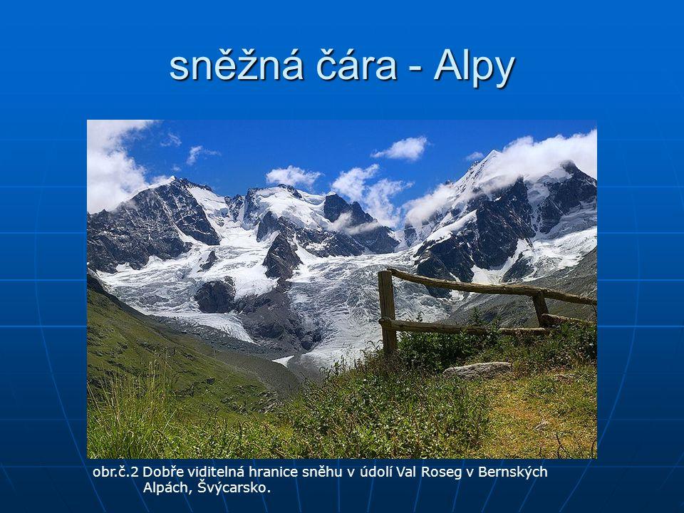 sněžná čára - Alpy obr.č.2 Dobře viditelná hranice sněhu v údolí Val Roseg v Bernských Alpách, Švýcarsko.