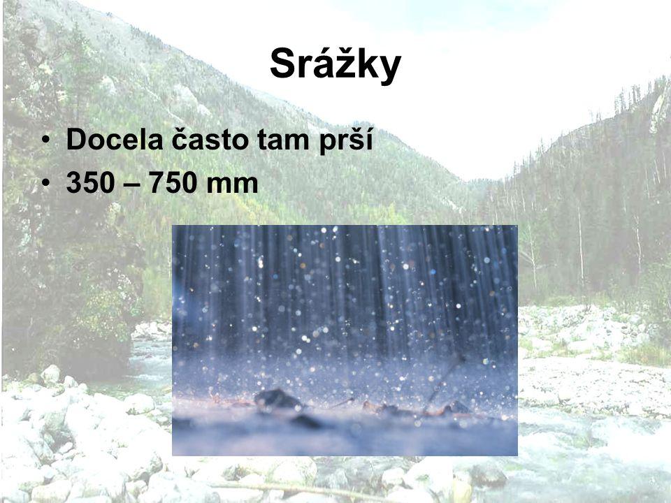 Srážky Docela často tam prší 350 – 750 mm