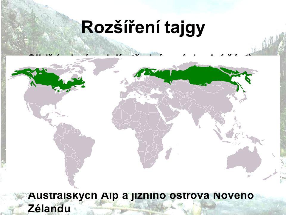 Rozšíření tajgy Sibiř (zejména její střední a východní část) Skandinávie poloostrov Kola, Karélie a severozápadní Rusko Kanada, větší část Aljašky horské oblasti USA a střední Evropy jižní část Patagonie asi 45-50° j.š.