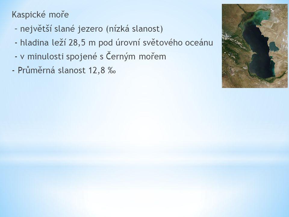 Kaspické moře – největší slané jezero (nízká slanost) - hladina leží 28,5 m pod úrovní světového oceánu - v minulosti spojené s Černým mořem - Průměrná slanost 12,8 ‰
