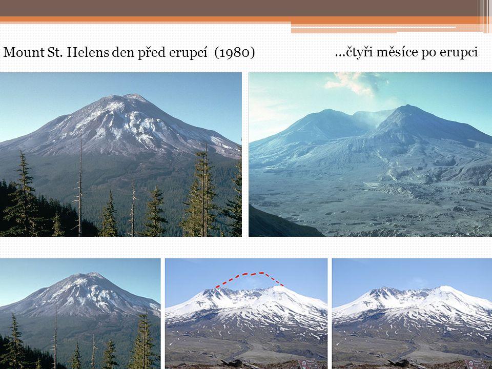 Mount St. Helens den před erupcí (1980) …čtyři měsíce po erupci