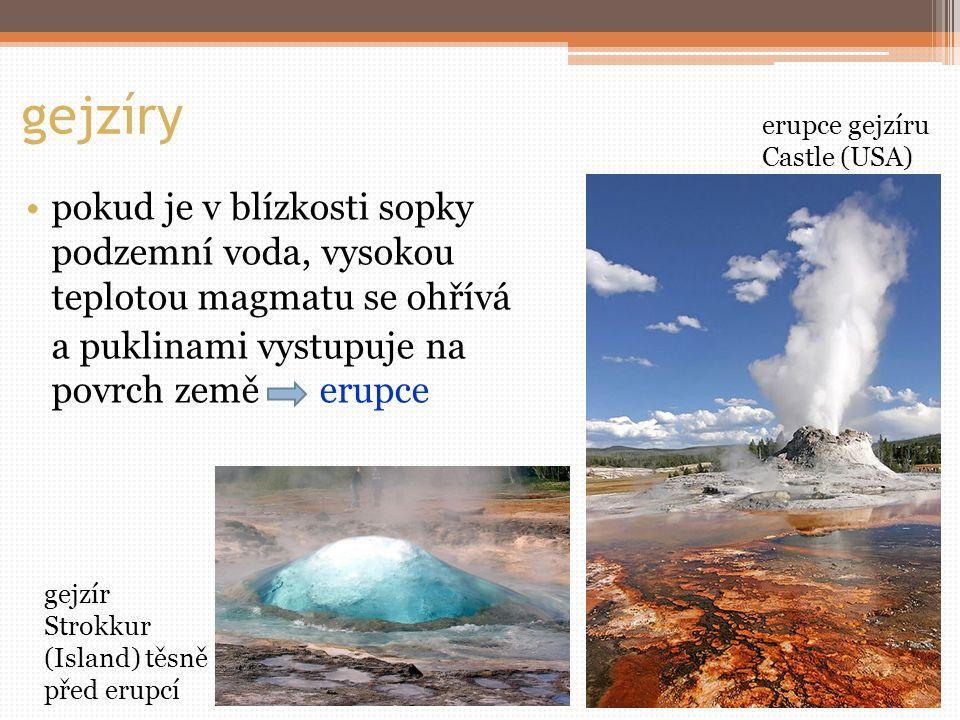 gejzíry pokud je v blízkosti sopky podzemní voda, vysokou teplotou magmatu se ohřívá a puklinami vystupuje na povrch země erupce gejzír Strokkur (Island) těsně před erupcí erupce gejzíru Castle (USA)