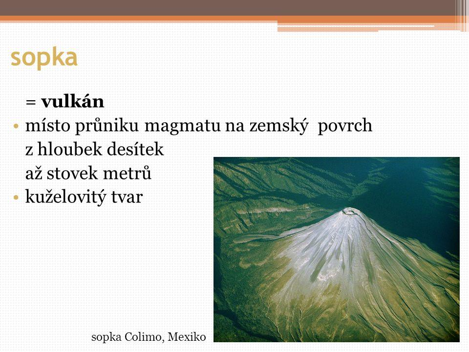 sopka = vulkán místo průniku magmatu na zemský povrch z hloubek desítek až stovek metrů kuželovitý tvar sopka Colimo, Mexiko