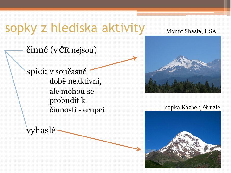 sopky z hlediska aktivity činné ( v ČR nejsou ) spící: v současné době neaktivní, ale mohou se probudit k činnosti - erupci vyhaslé Mount Shasta, USA sopka Kazbek, Gruzie