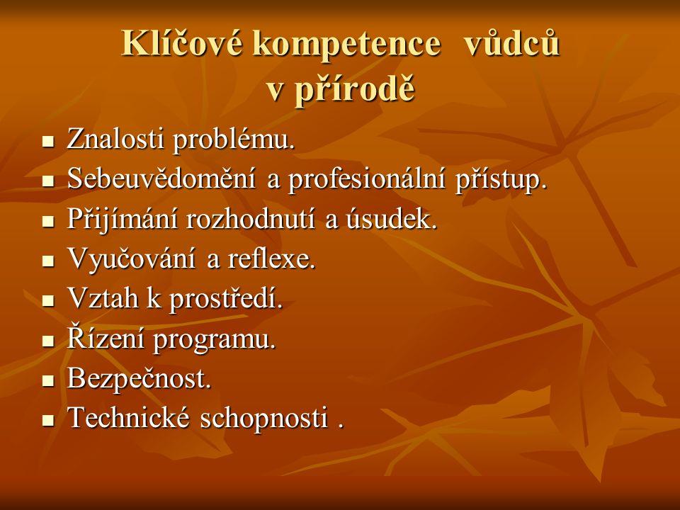 Klíčové kompetence vůdců v přírodě Znalosti problému.