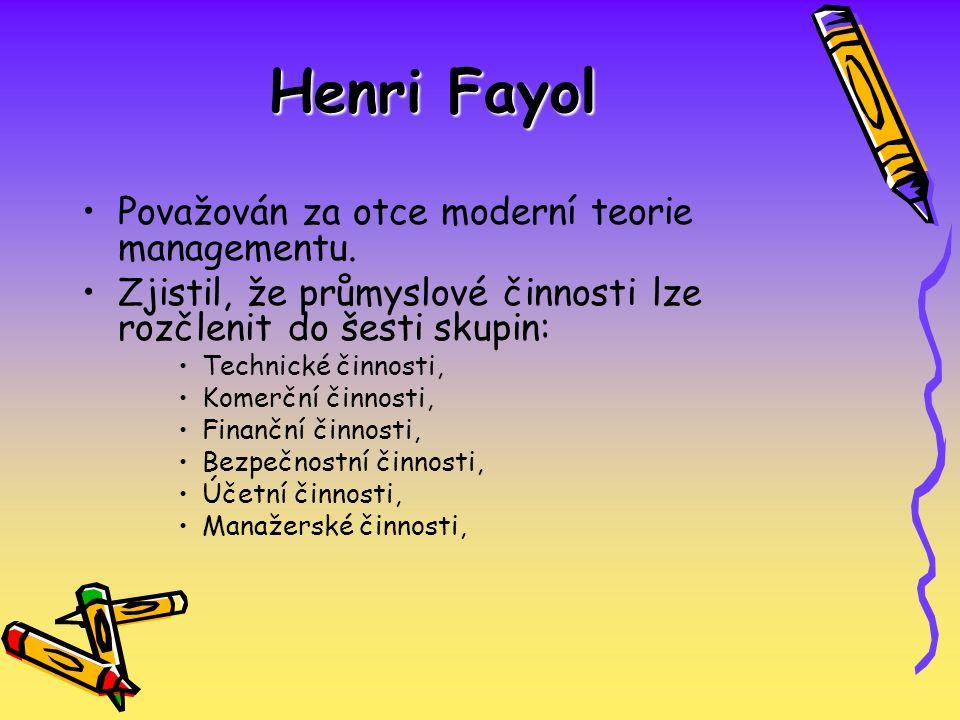 Henri Fayol Považován za otce moderní teorie managementu. Zjistil, že průmyslové činnosti lze rozčlenit do šesti skupin: Technické činnosti, Komerční