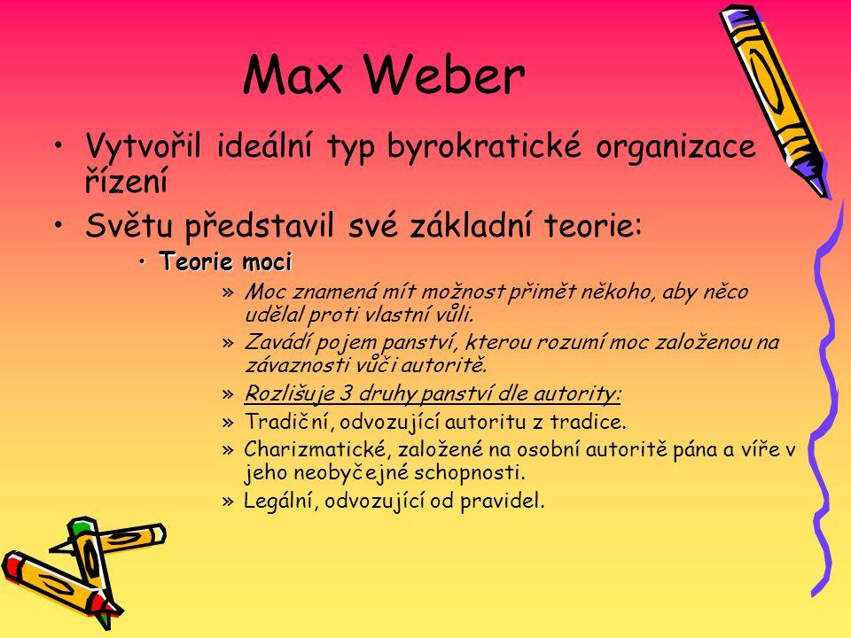 Max Weber Vytvořil ideální typ byrokratické organizace řízení Světu představil své základní teorie: Teorie moci »M»Moc znamená mít možnost přimět něko
