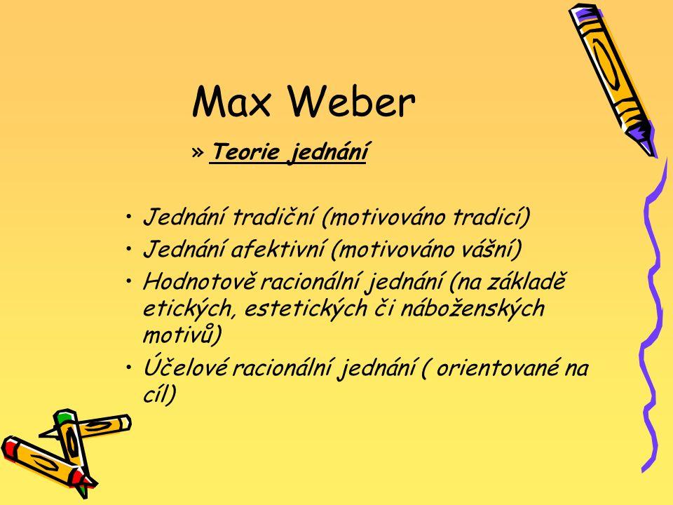 Max Weber »T»Teorie jednání Jednání tradiční (motivováno tradicí) Jednání afektivní (motivováno vášní) Hodnotově racionální jednání (na základě etický