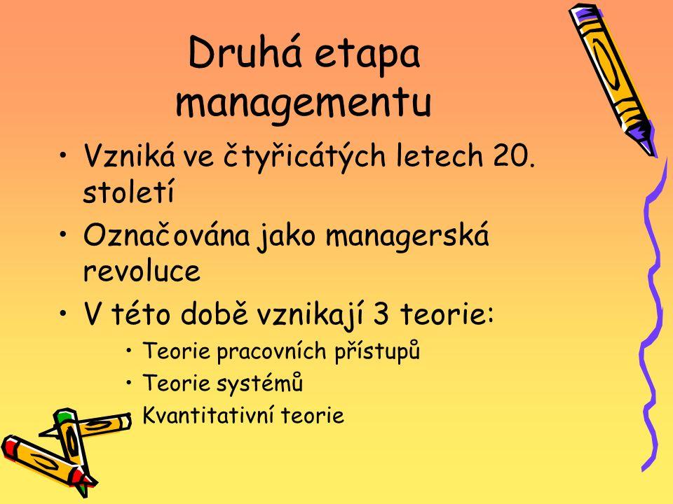 Druhá etapa managementu Vzniká ve čtyřicátých letech 20. století Označována jako managerská revoluce V této době vznikají 3 teorie: Teorie pracovních