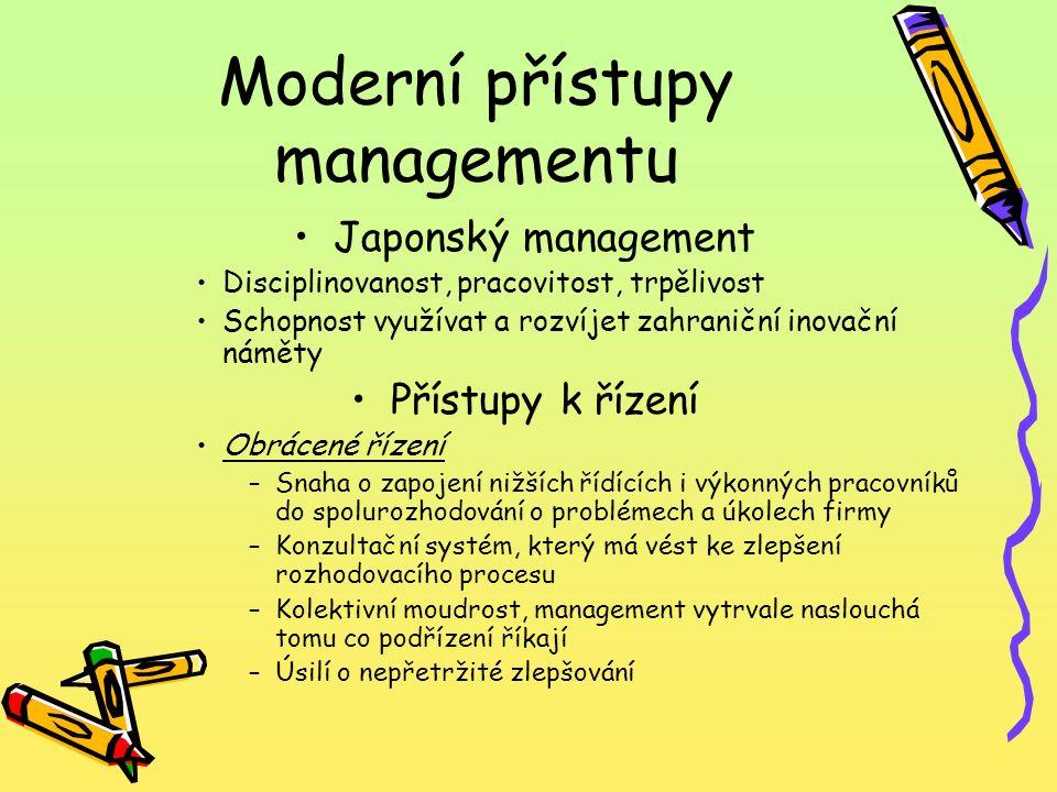 Moderní přístupy managementu Japonský management Disciplinovanost, pracovitost, trpělivost Schopnost využívat a rozvíjet zahraniční inovační náměty Př