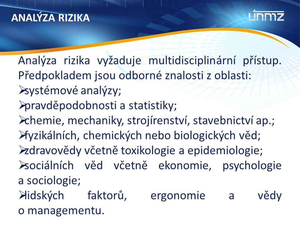 ANALÝZA RIZIKA Analýza rizika vyžaduje multidisciplinární přístup.