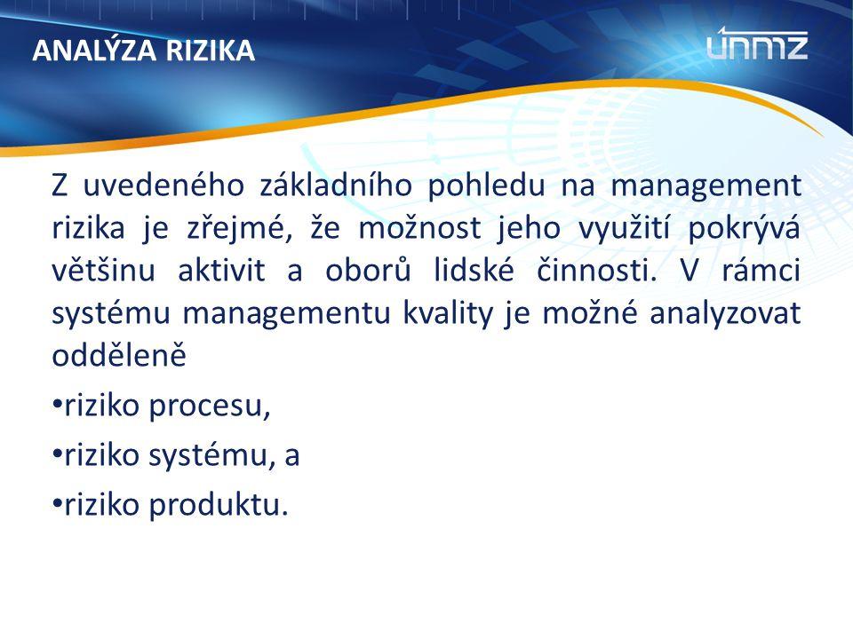 ANALÝZA RIZIKA Z uvedeného základního pohledu na management rizika je zřejmé, že možnost jeho využití pokrývá většinu aktivit a oborů lidské činnosti.