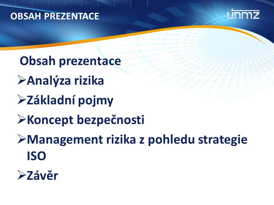 OBSAH PREZENTACE Obsah prezentace  Analýza rizika  Základní pojmy  Koncept bezpečnosti  Management rizika z pohledu strategie ISO  Závěr
