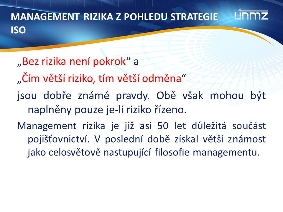 """MANAGEMENT RIZIKA Z POHLEDU STRATEGIE ISO """"Bez rizika není pokrok a """"Čím větší riziko, tím větší odměna jsou dobře známé pravdy."""