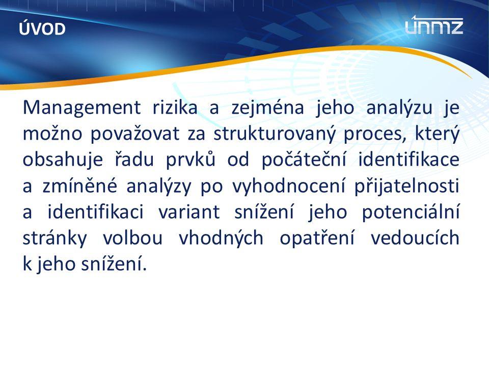 ÚVOD Management rizika a zejména jeho analýzu je možno považovat za strukturovaný proces, který obsahuje řadu prvků od počáteční identifikace a zmíněné analýzy po vyhodnocení přijatelnosti a identifikaci variant snížení jeho potenciální stránky volbou vhodných opatření vedoucích k jeho snížení.