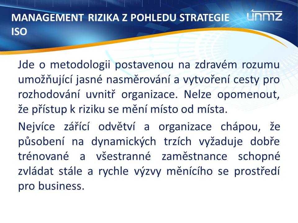 MANAGEMENT RIZIKA Z POHLEDU STRATEGIE ISO Jde o metodologii postavenou na zdravém rozumu umožňující jasné nasměrování a vytvoření cesty pro rozhodování uvnitř organizace.