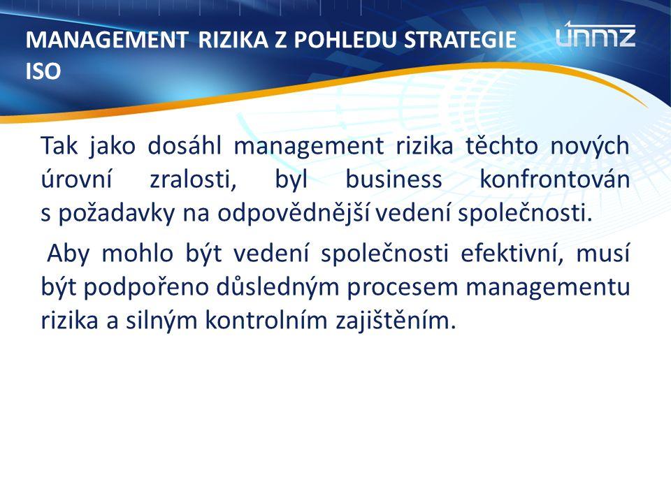 MANAGEMENT RIZIKA Z POHLEDU STRATEGIE ISO Tak jako dosáhl management rizika těchto nových úrovní zralosti, byl business konfrontován s požadavky na odpovědnější vedení společnosti.