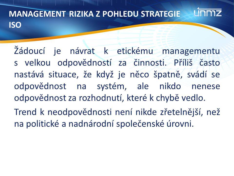 MANAGEMENT RIZIKA Z POHLEDU STRATEGIE ISO Žádoucí je návrat k etickému managementu s velkou odpovědností za činnosti.