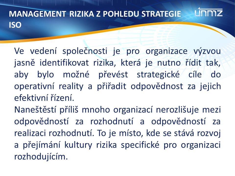 MANAGEMENT RIZIKA Z POHLEDU STRATEGIE ISO Ve vedení společnosti je pro organizace výzvou jasně identifikovat rizika, která je nutno řídit tak, aby bylo možné převést strategické cíle do operativní reality a přiřadit odpovědnost za jejich efektivní řízení.