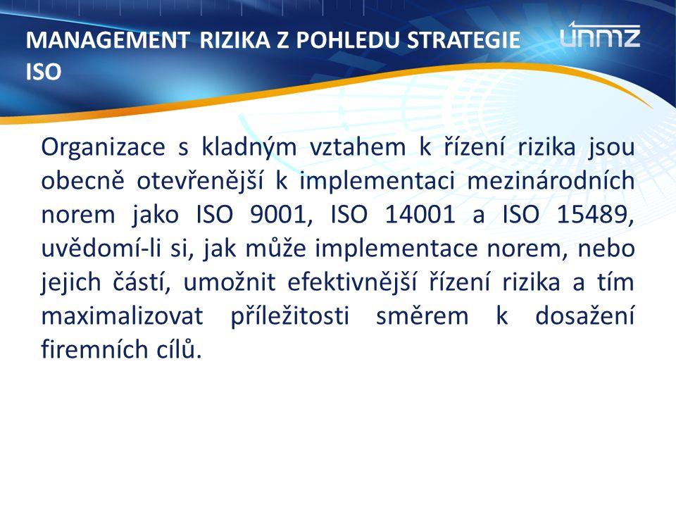 MANAGEMENT RIZIKA Z POHLEDU STRATEGIE ISO Organizace s kladným vztahem k řízení rizika jsou obecně otevřenější k implementaci mezinárodních norem jako ISO 9001, ISO 14001 a ISO 15489, uvědomí-li si, jak může implementace norem, nebo jejich částí, umožnit efektivnější řízení rizika a tím maximalizovat příležitosti směrem k dosažení firemních cílů.