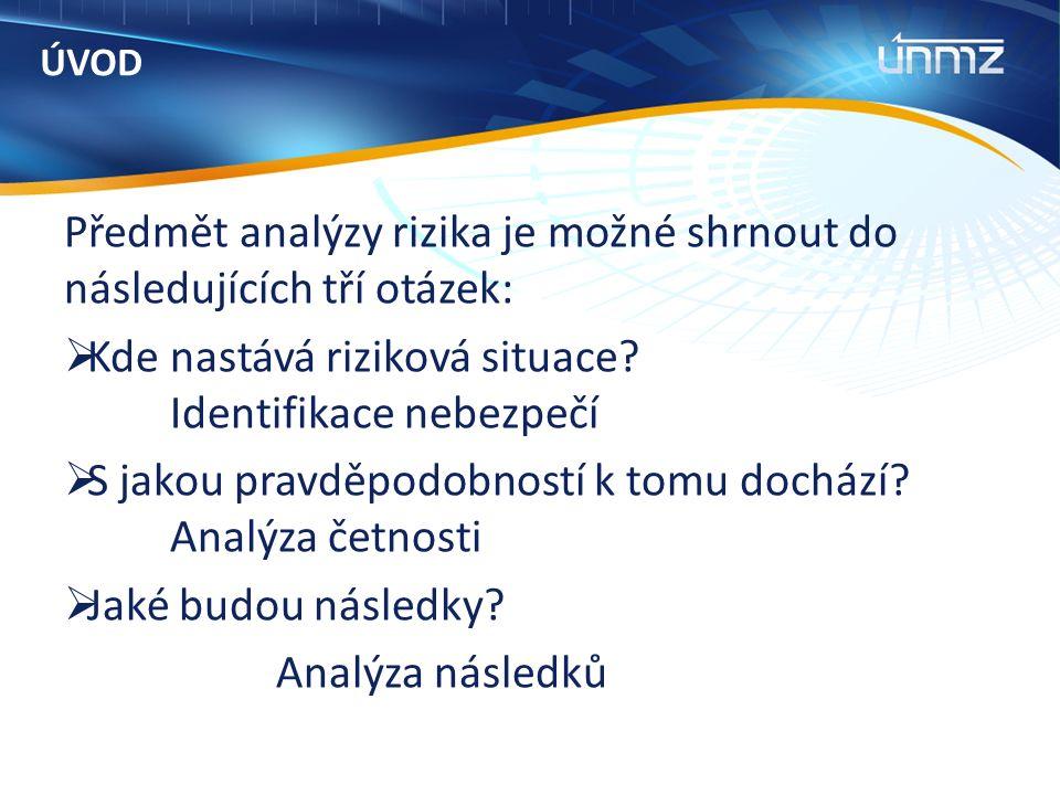 ÚVOD Předmět analýzy rizika je možné shrnout do následujících tří otázek:  Kde nastává riziková situace.