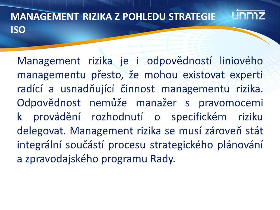 MANAGEMENT RIZIKA Z POHLEDU STRATEGIE ISO Management rizika je i odpovědností liniového managementu přesto, že mohou existovat experti radící a usnadňující činnost managementu rizika.