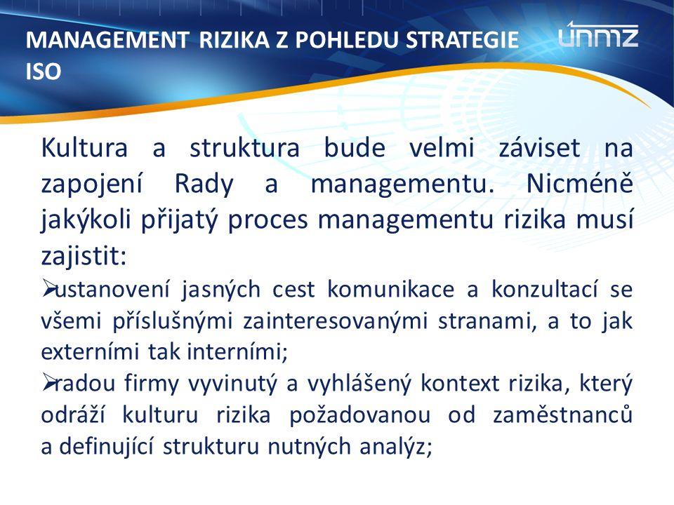 MANAGEMENT RIZIKA Z POHLEDU STRATEGIE ISO Kultura a struktura bude velmi záviset na zapojení Rady a managementu.