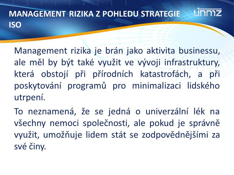 MANAGEMENT RIZIKA Z POHLEDU STRATEGIE ISO Management rizika je brán jako aktivita businessu, ale měl by být také využit ve vývoji infrastruktury, která obstojí při přírodních katastrofách, a při poskytování programů pro minimalizaci lidského utrpení.