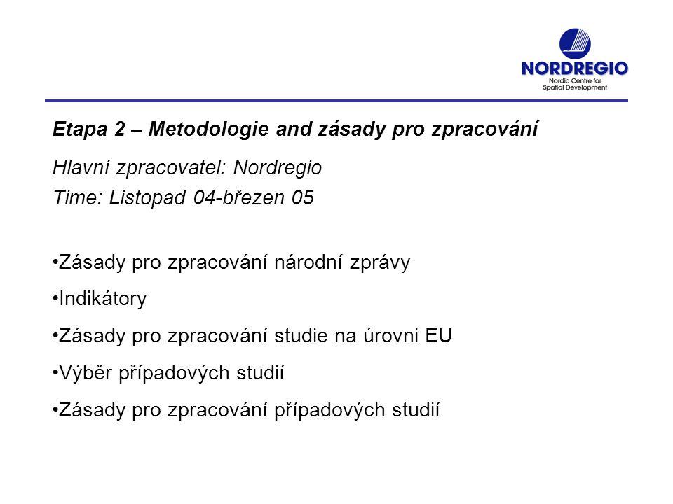 Etapa 2 – Metodologie and zásady pro zpracování Hlavní zpracovatel: Nordregio Time: Listopad 04-březen 05 Zásady pro zpracování národní zprávy Indikát
