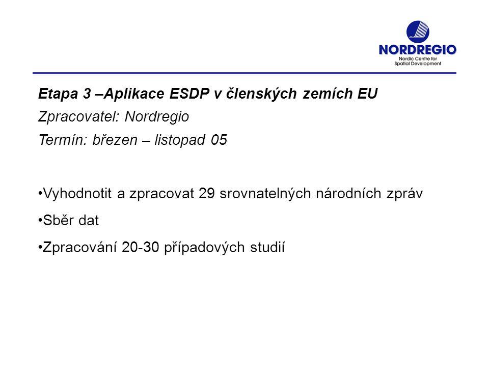 Etapa 3 –Aplikace ESDP v členských zemích EU Zpracovatel: Nordregio Termín: březen – listopad 05 Vyhodnotit a zpracovat 29 srovnatelných národních zpr