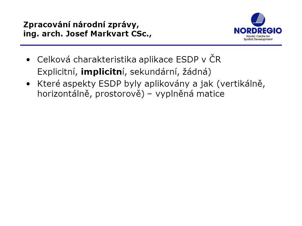 Zpracování národní zprávy, ing. arch. Josef Markvart CSc., Celková charakteristika aplikace ESDP v ČR Explicitní, implicitní, sekundární, žádná) Které