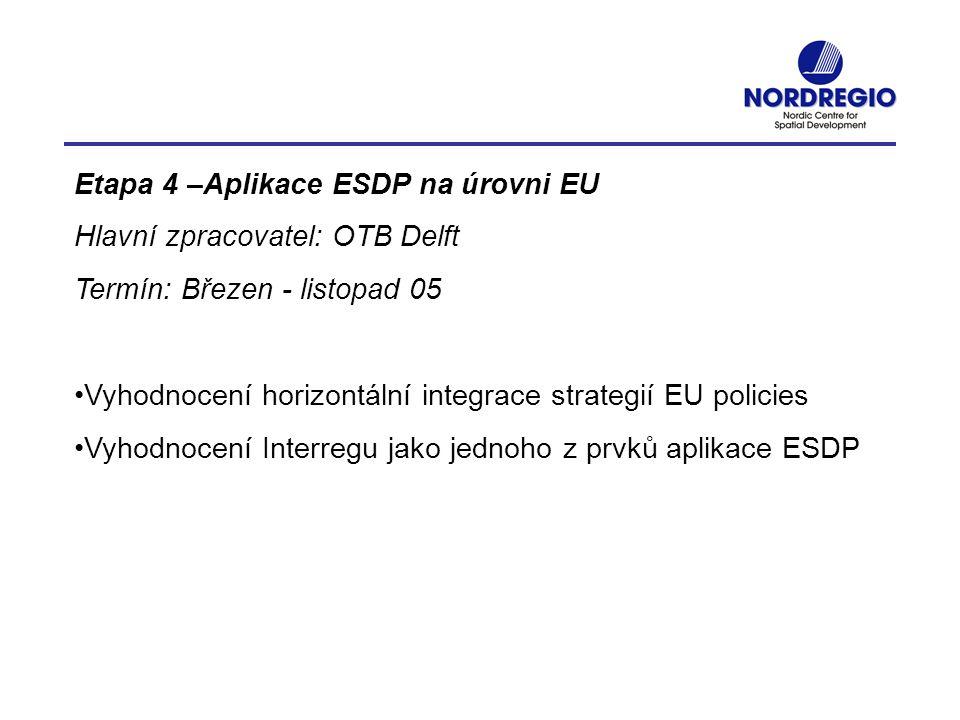 Etapa 4 –Aplikace ESDP na úrovni EU Hlavní zpracovatel: OTB Delft Termín: Březen - listopad 05 Vyhodnocení horizontální integrace strategií EU policie