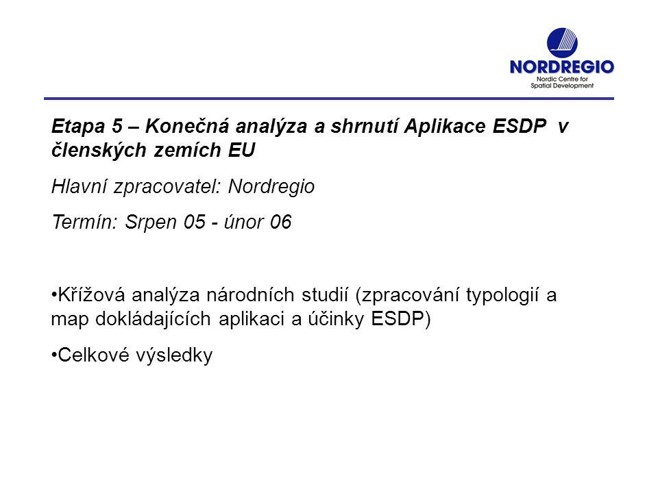 Etapa 5 – Konečná analýza a shrnutí Aplikace ESDP v členských zemích EU Hlavní zpracovatel: Nordregio Termín: Srpen 05 - únor 06 Křížová analýza národ