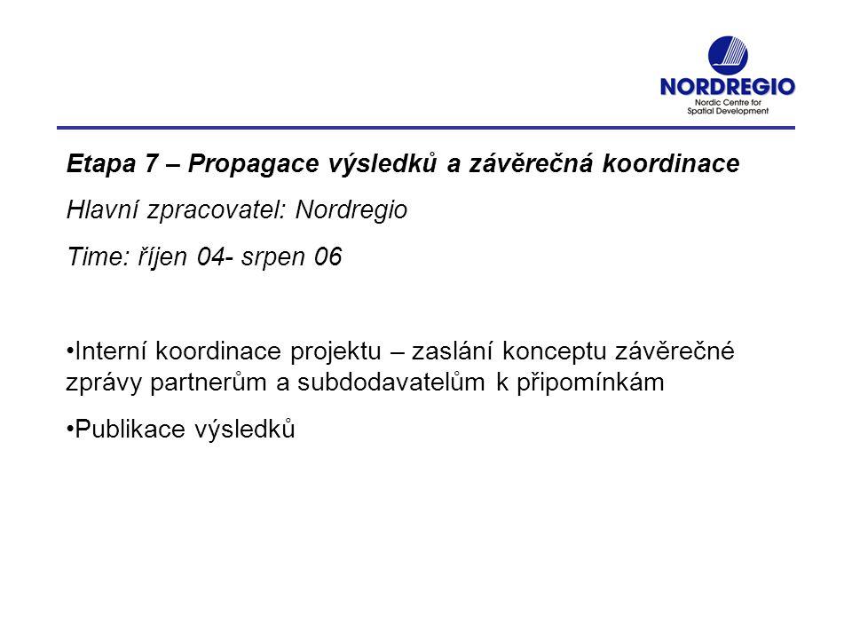 Etapa 7 – Propagace výsledků a závěrečná koordinace Hlavní zpracovatel: Nordregio Time: říjen 04- srpen 06 Interní koordinace projektu – zaslání konce