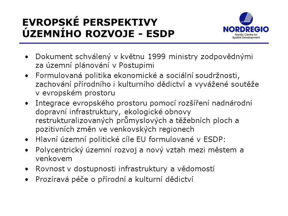 EVROPSKÉ PERSPEKTIVY ÚZEMNÍHO ROZVOJE - ESDP Dokument schválený v květnu 1999 ministry zodpovědnými za územní plánování v Postupimi Formulovaná politi