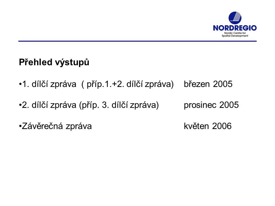 Přehled výstupů 1. dílčí zpráva ( příp.1.+2. dílčí zpráva) březen 2005 2. dílčí zpráva (příp. 3. dílčí zpráva) prosinec 2005 Závěrečná zpráva květen 2